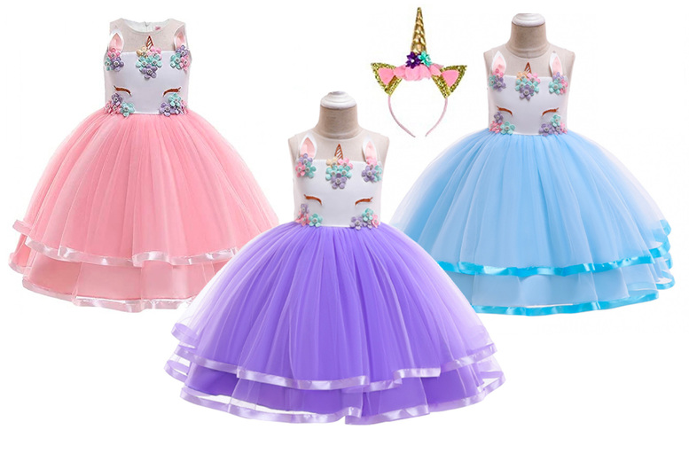Image of £11.99 instead of £39.99 for a kids' unicorn princess dress in pink, blue or purple, £14 with unicorn headband from Wish Imports - save up to 70%