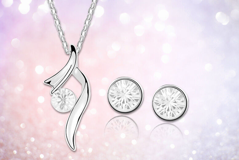 Image of £9 for a crystal swirl earring and necklace set from Evoked Design