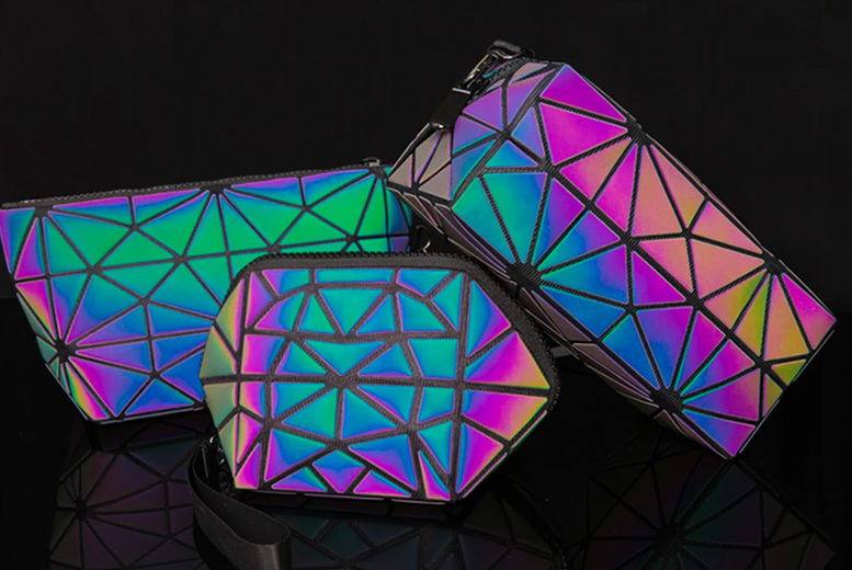 Image of From £4 instead of £10 for a holographic prism print makeup bag from Forever Cosmetics - save up to 60%