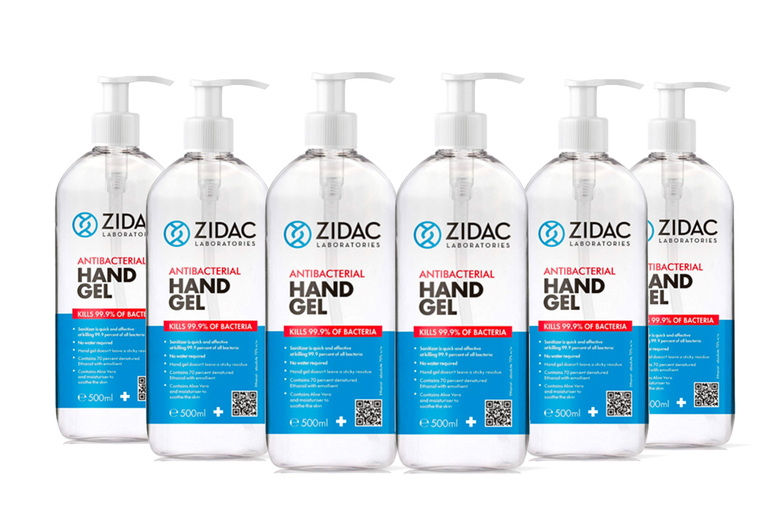 Image of From £9.99 for one Zidac anti-bacterial hand gel with a pump, choose from three options from GMS ltd!