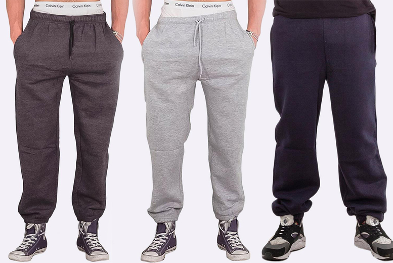 Image of £11.99 for a pair of men's fleece joggers in black, charcoal, grey or navy blue and sizes S-5XL from Love My Fashions