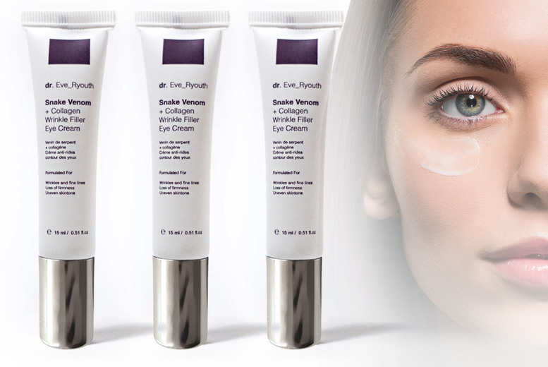 Image of From £10.99 instead of £49 for a 15ml tube of wrinkle filler eye cream formulated with synthetic snake venom peptide and collagen retinol from dr. Eve_ Ryouth - save up to 76%