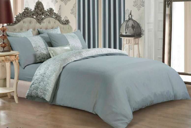 Image of From £12.99 (from Home Decoration World) for a crushed velvet panel bedding set – choose from five colours and save 57%