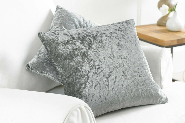 "Image of £8.99 instead of £19.99 for a twin pack of crushed velvet 17"" x 17"" cushion covers or £10.99 for 20"" x 20"" covers from Home Decoration World!"