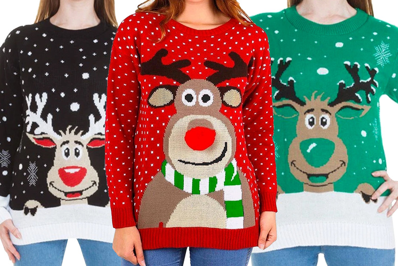 Image of £12.99 for a women's Rudolph Christmas jumper in UK sizes 8-14, £13.99 for UK sizes 16-22 from Love My Fashions!
