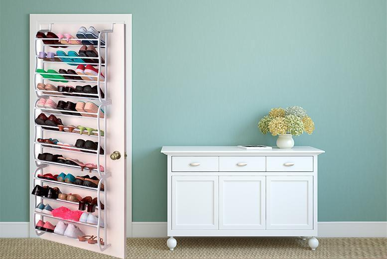 Image of £11.99 instead of £39.99 for a 36-pair over-the-door shoe rack from Direct2Public Ltd - save 70%