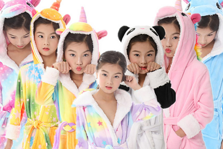 Image of £12 instead of £49.99 for a kids' unicorn fleece dressing gown from My Brand Logic - save 76%