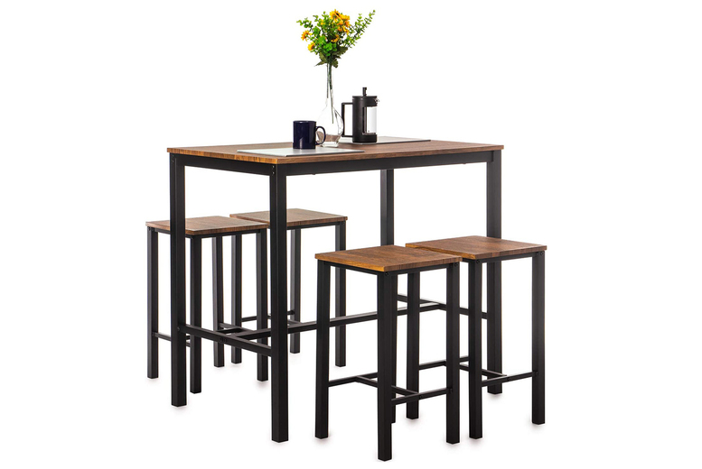 Image of £99 instead of £299.99 for a bar table with a set of four matching bar stools from Beds Star - save 67%