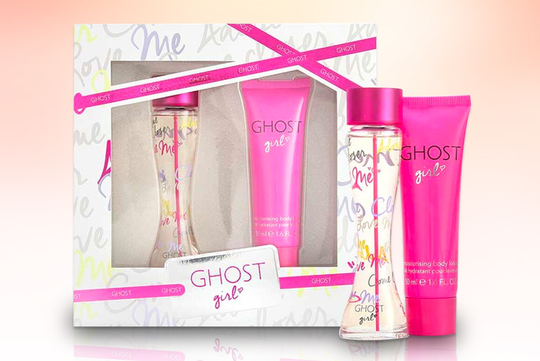 Image of £14.50 instead of £19.79 for a Ghost Girl gift set includes a 30ml bottle of eau de toilette and a 50ml body lotion - save 27%