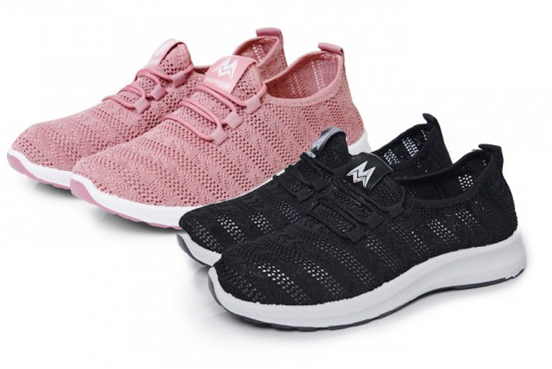 ?9.99 instead of ?31.01 for a pair of ladies patterned knit sneakers in black or pink, choose from sizes 3-8 from Evaniy ? save 68%