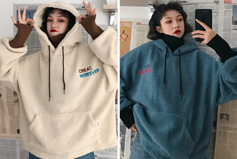 Image of £11.99 instead of £59.99 for a women's winter oversized hoodie in apricot or blue, choose from UK sizes 12-18 and save 80%