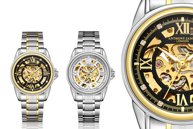 Image of £29 for an Anthony James luxury automatic skeleton watch from Timepieces!