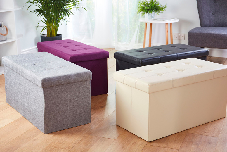 Image of £19.99 instead of up to £49.99 for a foldable ottoman storage box in faux leather, linen or velvet from CJ Offers - save up to 60%