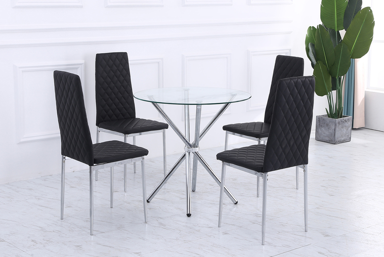 Image of £149 instead of £259.99 for a round dining table with four chairs in grey, cream or black colours from Dreams Outdoors - save 43%