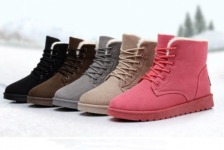 Image of £11.99 for a pair of winter boots in black, light brown, grey, pink, dark brown, wine red, navy blue or red from MBLogic