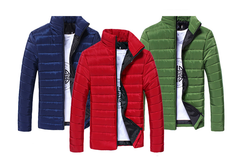 Image of £12.99 for a men's lightweight collar jacket in white, red, grey, black, blue, orange, fluorescent green, navy blue and dark green from Flashing Pineapple