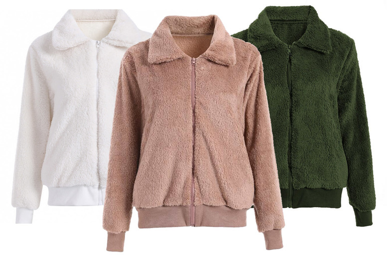 Image of £12.99 instead of £39.99 for a women's comfortable teddy jacket in Khaki, Black or White in UK sizes 12-16 from Huundo-P - save 68%