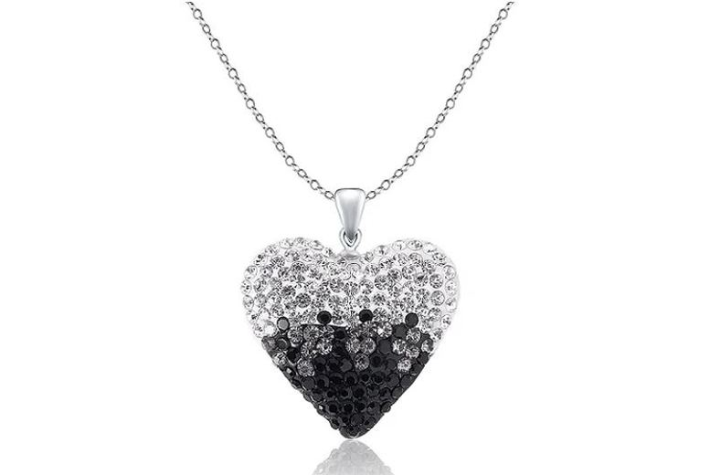Image of £7 instead of £58 for a Black & Silver Crystal Heart Necklace from Evoked Design - save 88%