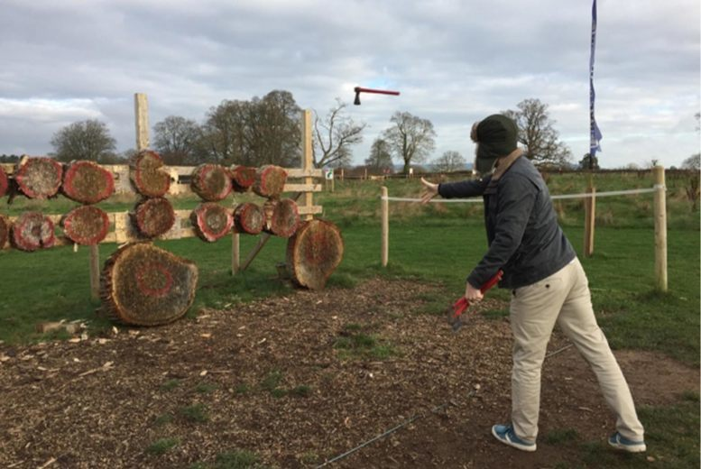 Image of £24 instead of £60 for a one-hour axe throwing session for one person at Devon Country Pursuits, Ottery St Mary – save 60%