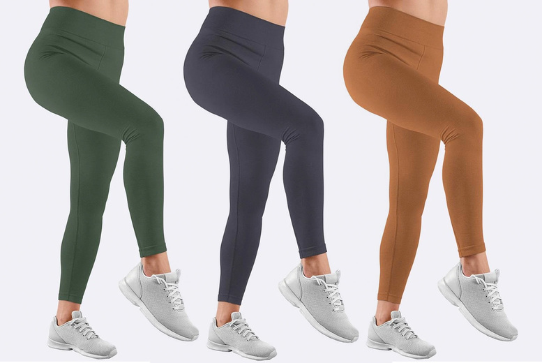 Image of From £5.99 for one pair of fleece lined leggings in black, camel, khaki, mocha, navy blue, dark grey, wine or in assorted colours from Love My Fashions - save up to 25%