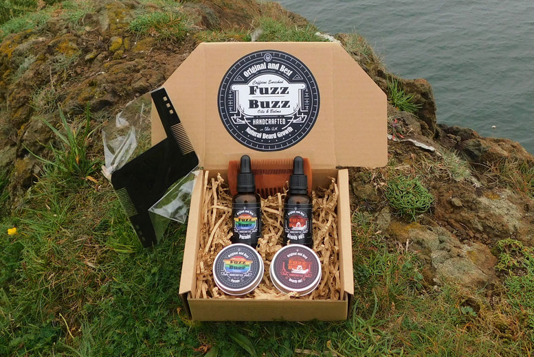 Image of £25 instead of £44.99 for a choice of beard oil and balm gift hamper from Fuzz Buzz - choose from three options and save 44%