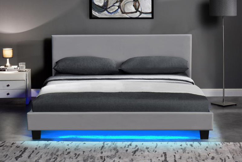 Image of From £65 instead of £209.99 for a grey PU leather bed frame or from £139 for a bed frame and bonnell spring or spring memory foam mattress in single, small double, double or king sizes from Buyer Empire - save up to 69%