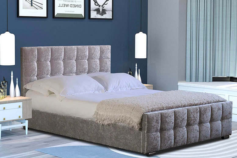 Image of From £179 instead of £449.99 for a crushed velvet ottoman bed in Single, Double, Small Double or King sizes from Bedsstar – save up to 60%