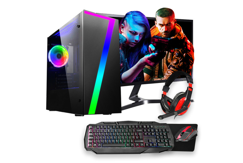 "Image of £199 instead of £297 for a refurbished Intel G Series 8GB RAM gaming PC, £239 for a PC and accessory bundle including a keyboard, mouse and headset, or £299 for a PC, accessory bundle and 24"" Samsung screen from HST - save up to 33%"