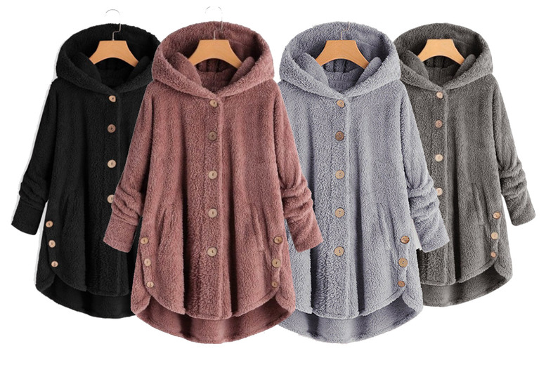 Image of £11.99 for a women's hooded fleece jumper in pink, black, light grey or dark grey and UK sizes 8-16 from Wish Imports