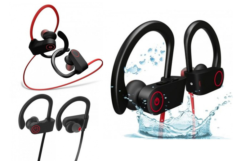 ?7.99 instead of ?49.99 for a pair of Bluetooth waterproof sports headphone in black/red or black/black from Pinkpree ? save 84%