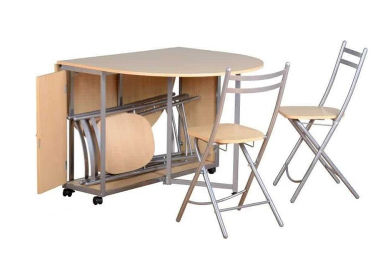 Image of £179 for a foldable dining table with four folding dining chairs with a pine-look finish from Dreams Outdoors