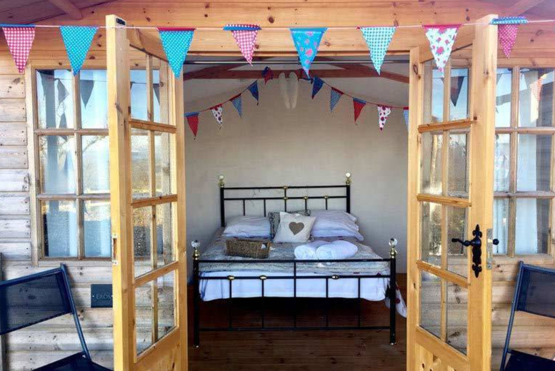 Image of A Shropshire glamping stay at Abel's Harp for two people with hot tub access, alpaca feeding experience and a complimentary croissant breakfast. £59 for one night, £89 for two nights, £119 for three nights or £149 for four nights - save up to 30%