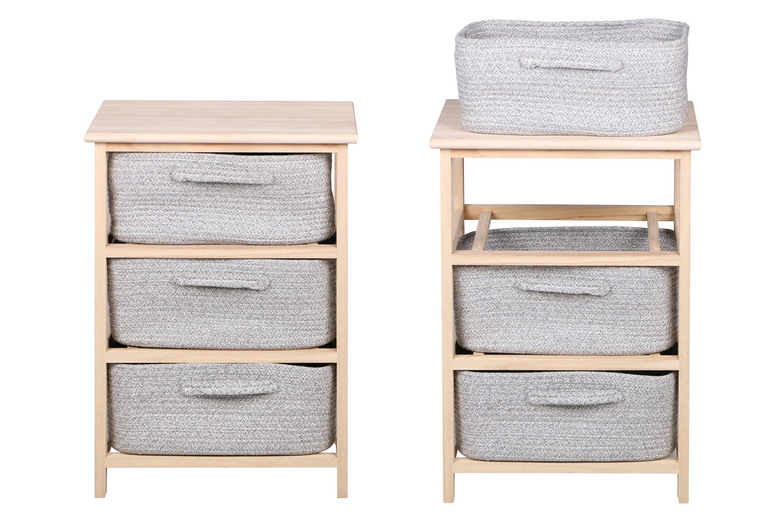 Image of £29.99 instead of £74.99 for a three-tier shelving unit with three grey baskets from Eutotrade – save 60%