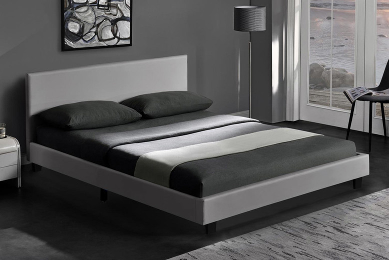 Image of From £49 instead of £159.99 for a single PU leather charcoal bed, choose from four sizes with mattress options from Buyer Empire – save up to 69%