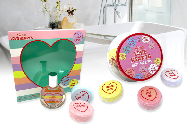 ?8.99 for Love Hearts bath fizzers or ?9.99 for Love Hearts bath fizzers and 50ml eau de toilette