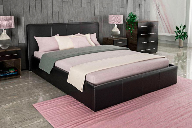 Image of From £119 instead of £180.99 for a faux leather ottoman bed frame in black or brown colours from Home Discount - choose from four sizes and save up to 34%