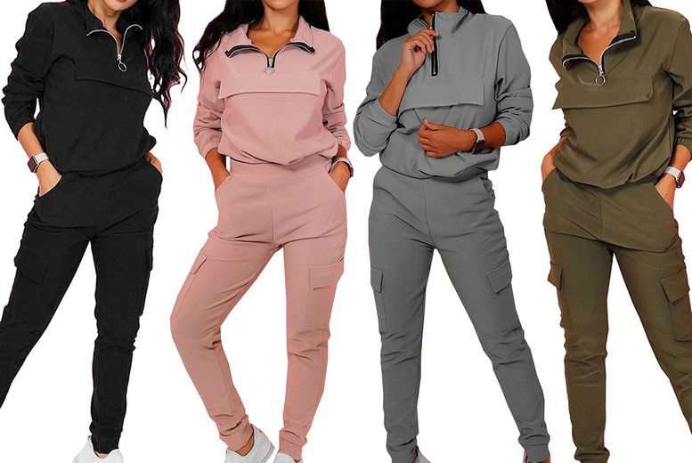 Image of £11.99 for a women's two-piece sweatshirt and trousers cargo set from Want Clothing