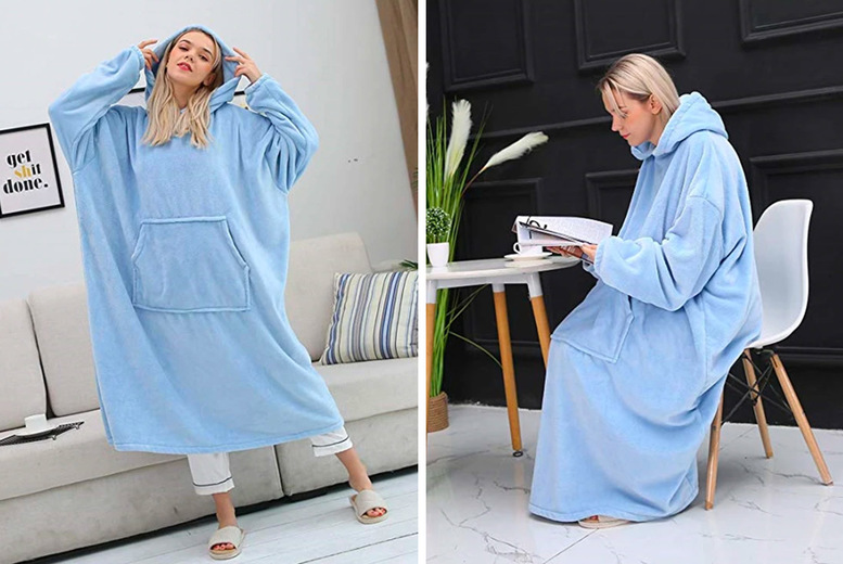 Image of £24.99 instead of £59.99 for an oversized plush hooded blanket in grey, pink or blue from ECLife-style – save 58%