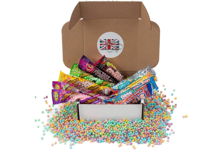 Image of £8.99 for a Millions sweets 10 pack hamper from GB Gifts - enjoy different flavours including banana, Vimto, apple, strawberry and more!