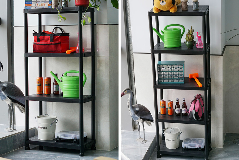 Image of £17.99 instead of £39.99 for a four-tier plastic shelving unit or £22.99 for a five-tier shelving unit from Euro Trade - save up to 55%