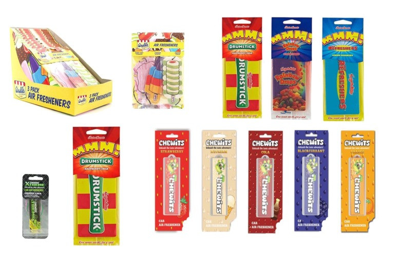 Image of £5.99 for a set of six assorted retro sweet car air fresheners from GB Gifts