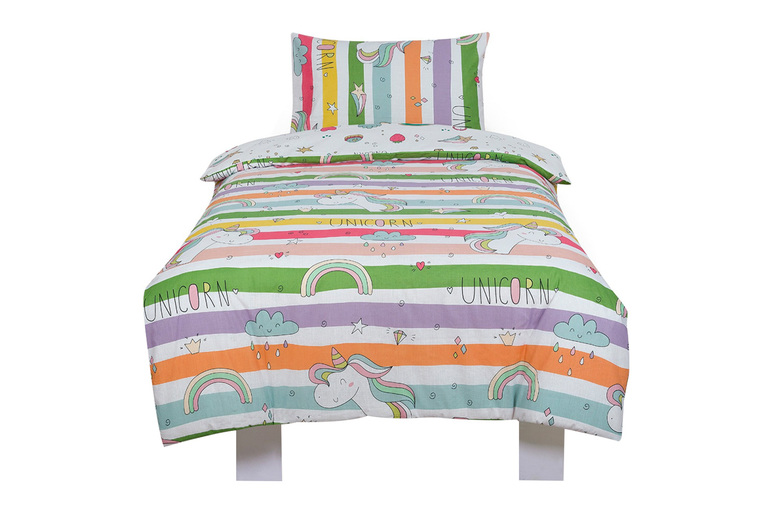 Image of £12 instead of £35 for a single rainbow unicorn duvet cover set, or £15 for a double set from Bubble Bedding - save up to 66%