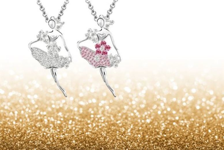 Image of £8 instead of £58 for a white-gold plated ballerina necklace - choose from two colours from Evoked Design - save 86%