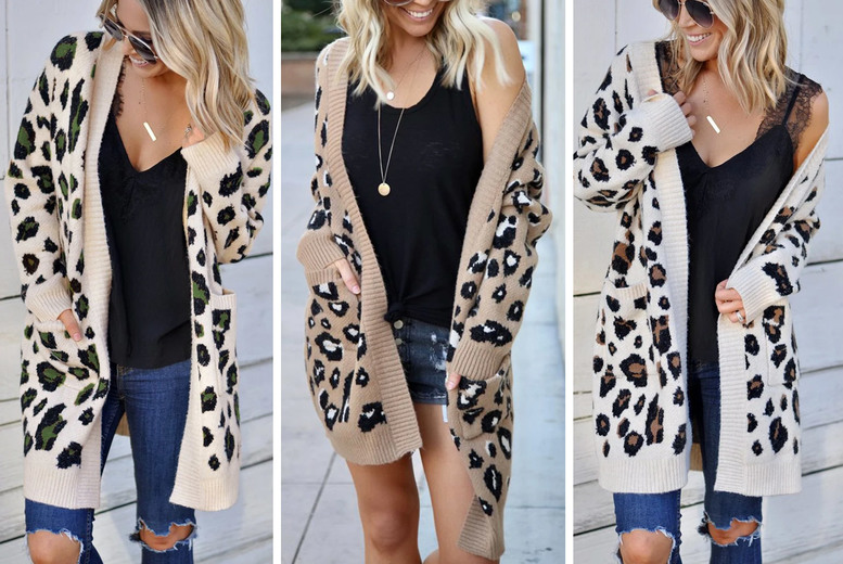 Image of £19.99 instead of £49.99 for a women's long sleeve leopard print cardigan in UK sizes 6-12 from ecLife-Style - save 60%