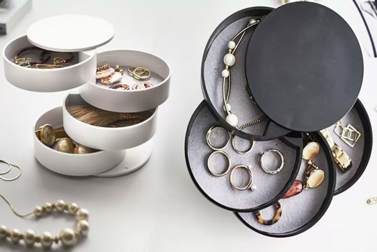 Image of £11.99 for a rotatable jewellery storage box in black or white choose from i-nod!