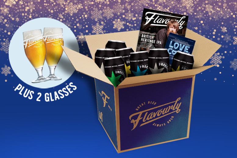 Image of £24 instead of £67.40 for a craft beer hamper including 20 beers, two beer glasses, a beer book, snack and magazine from Flavourly - save 64%