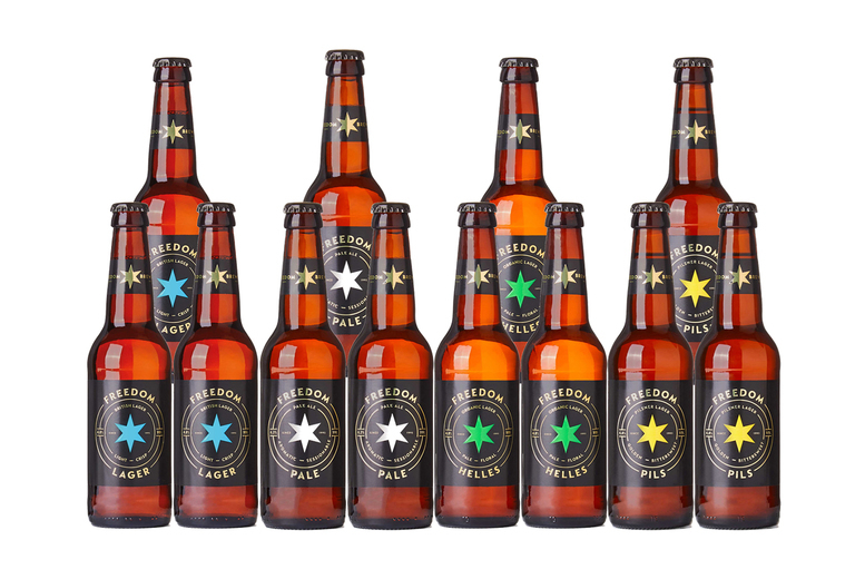 Image of £14 for a mixed case of 12 beers from Freedom Brewery, or £26 for a mixed case of 24 beers - bring the pub to your home!
