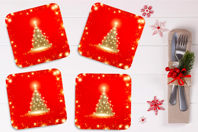 Image of £4.99 instead of £19.99 for a Christmas coasters four pack from chimp-online - save 75%