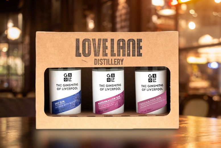 Image of £9 instead of £15 for The Ginsmiths of Liverpool giftpack from Love Lane Brewing including three miniature 50ml gin bottles - save 40%