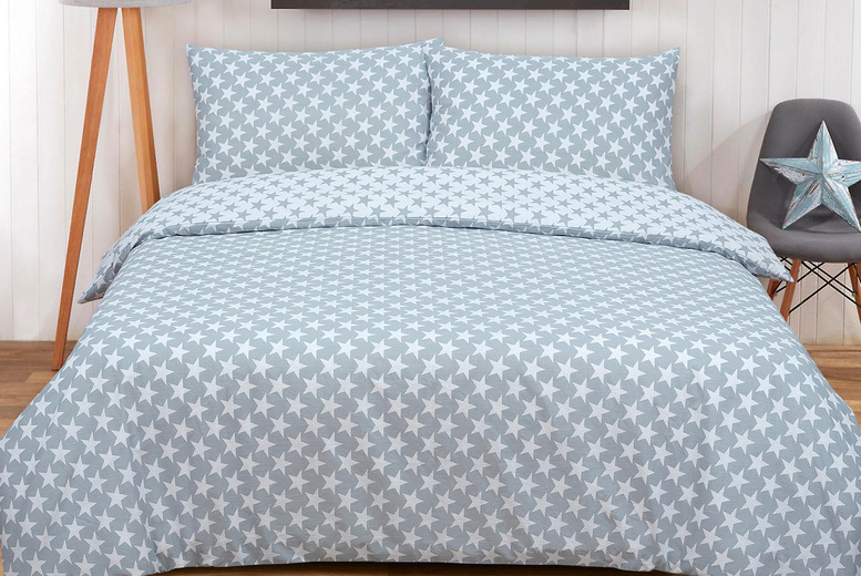 Image of £12 for a single reversible star duvet cover set, £14 for a double size and £16 for a king size from Bubble Bedding